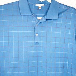 Peter Millar XL Blue Red White Plaid Golf Polo